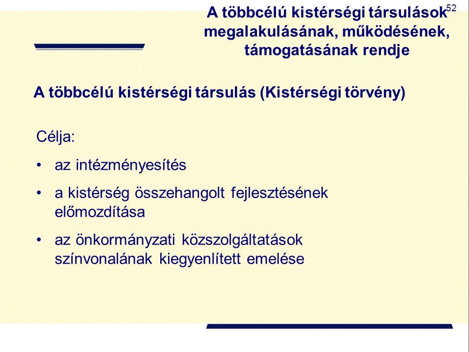 52 A többcélú kistérségi társulás (Kistérségi törvény) Célja: az intézményesítés a kistérség összehangolt fejlesztésének előmozdítása az önkormányzati