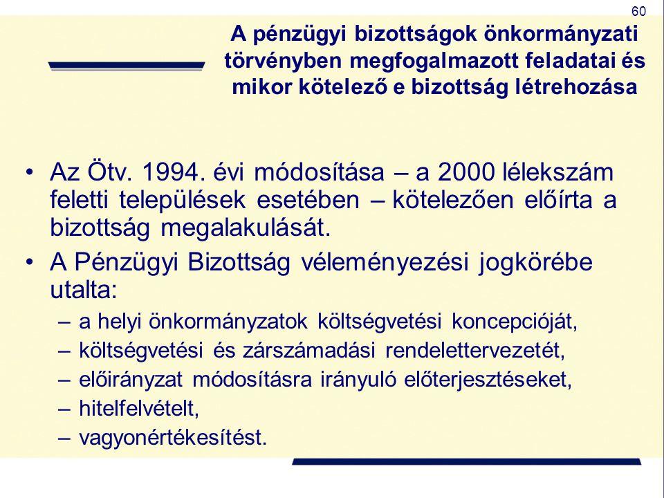 60 A pénzügyi bizottságok önkormányzati törvényben megfogalmazott feladatai és mikor kötelező e bizottság létrehozása Az Ötv. 1994. évi módosítása – a