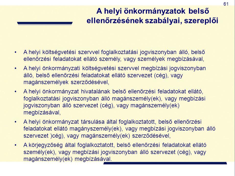 61 A helyi önkormányzatok belső ellenőrzésének szabályai, szereplői A helyi költségvetési szervvel foglalkoztatási jogviszonyban álló, belső ellenőrzé