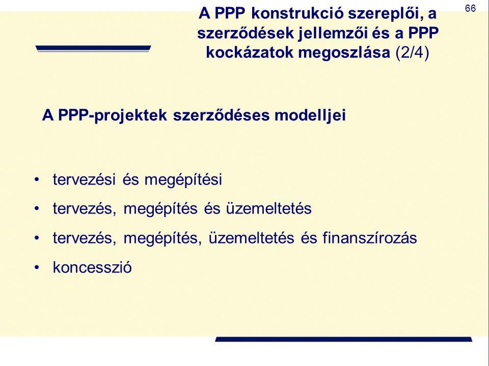 66 A PPP-projektek szerződéses modelljei tervezési és megépítési tervezés, megépítés és üzemeltetés tervezés, megépítés, üzemeltetés és finanszírozás