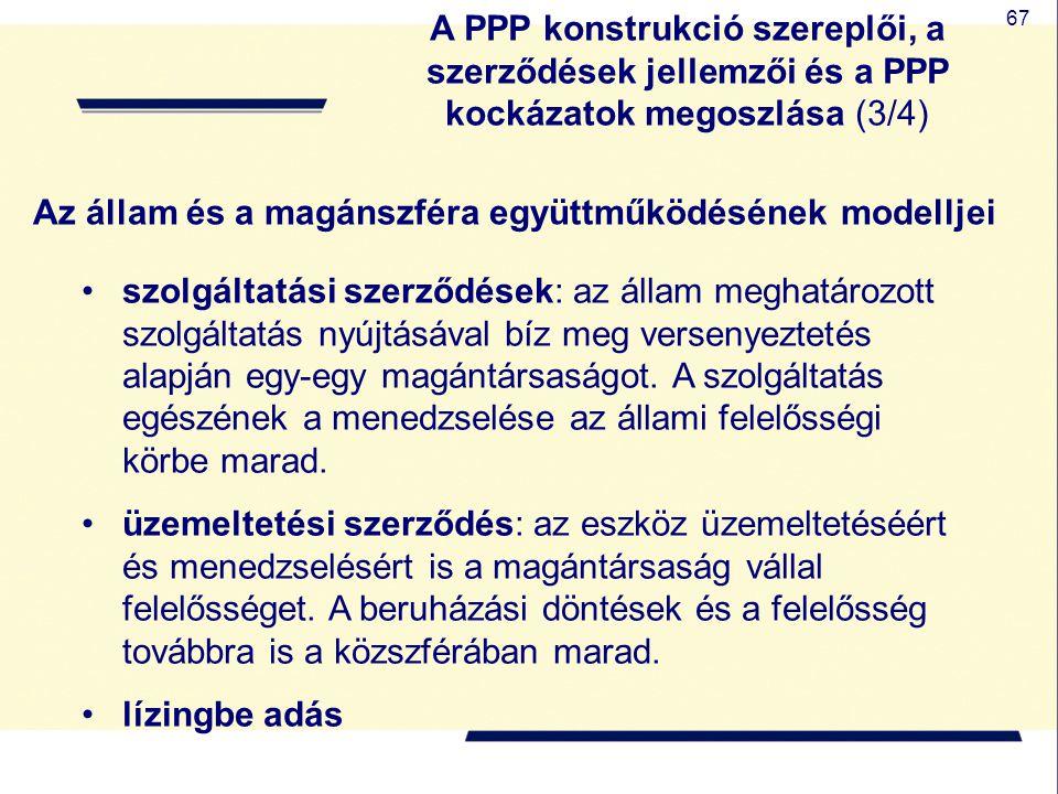 67 Az állam és a magánszféra együttműködésének modelljei szolgáltatási szerződések: az állam meghatározott szolgáltatás nyújtásával bíz meg versenyezt