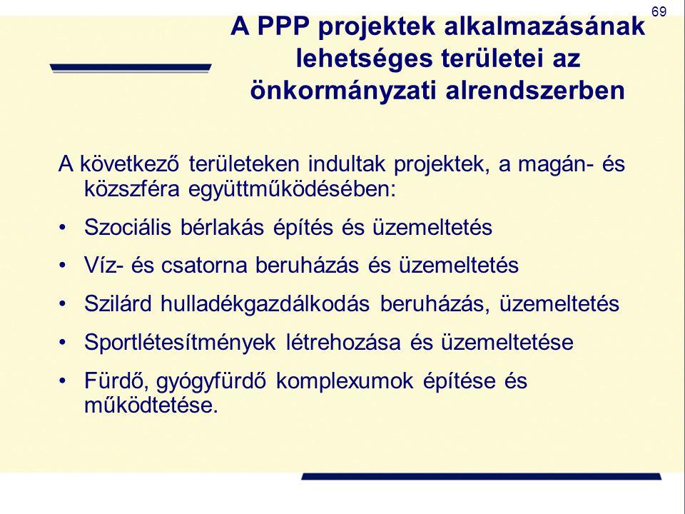 69 A PPP projektek alkalmazásának lehetséges területei az önkormányzati alrendszerben A következő területeken indultak projektek, a magán- és közszfér