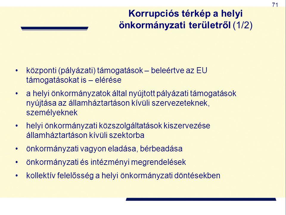 71 Korrupciós térkép a helyi önkormányzati területről (1/2) központi (pályázati) támogatások – beleértve az EU támogatásokat is – elérése a helyi önko