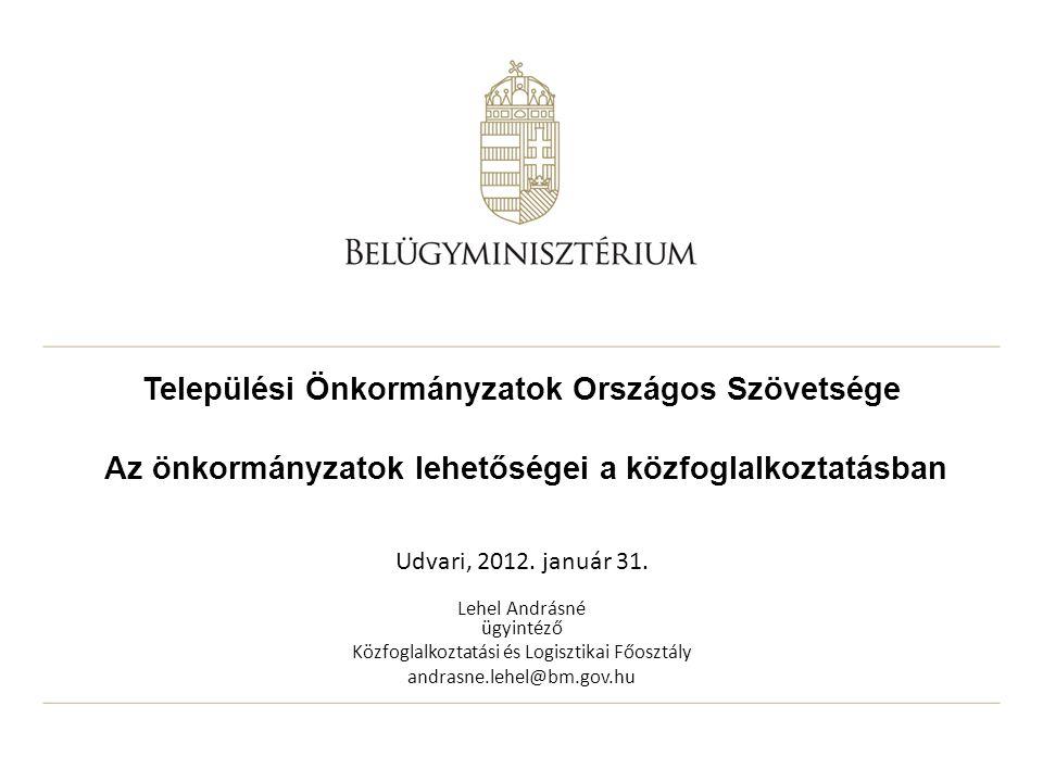 Települési Önkormányzatok Országos Szövetsége Az önkormányzatok lehetőségei a közfoglalkoztatásban Udvari, 2012.