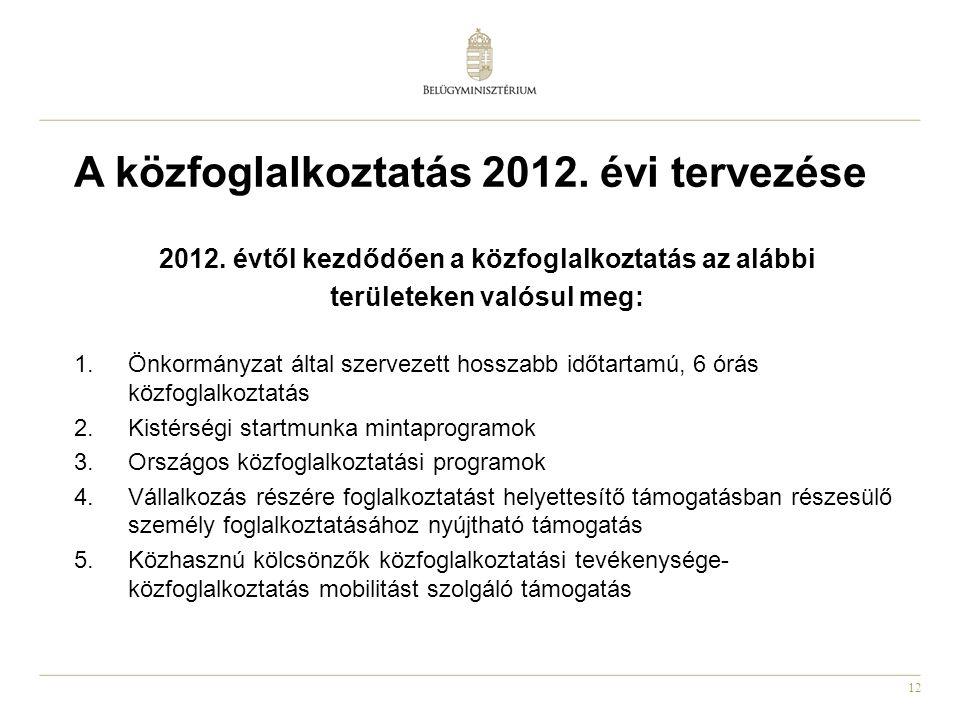 12 A közfoglalkoztatás 2012. évi tervezése 2012.
