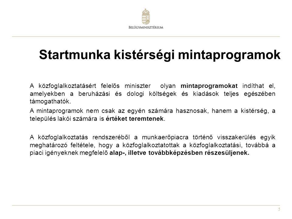 5 Startmunka kistérségi mintaprogramok A közfoglalkoztatásért felelős miniszter olyan mintaprogramokat indíthat el, amelyekben a beruházási és dologi költségek és kiadások teljes egészében támogathatók.