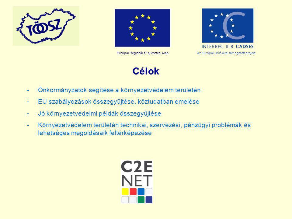 Európai Regionális Fejlesztési AlapAz Európai Unió által támogatott projekt Célok -Önkormányzatok segítése a környezetvédelem területén -EU szabályozá