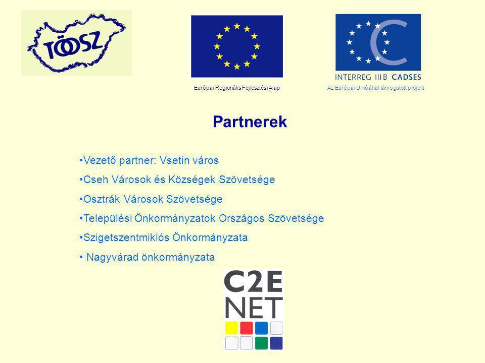 Európai Regionális Fejlesztési AlapAz Európai Unió által támogatott projekt Partnerek Vezető partner: Vsetin város Cseh Városok és Községek Szövetsége Osztrák Városok Szövetsége Települési Önkormányzatok Országos Szövetsége Szigetszentmiklós Önkormányzata Nagyvárad önkormányzata