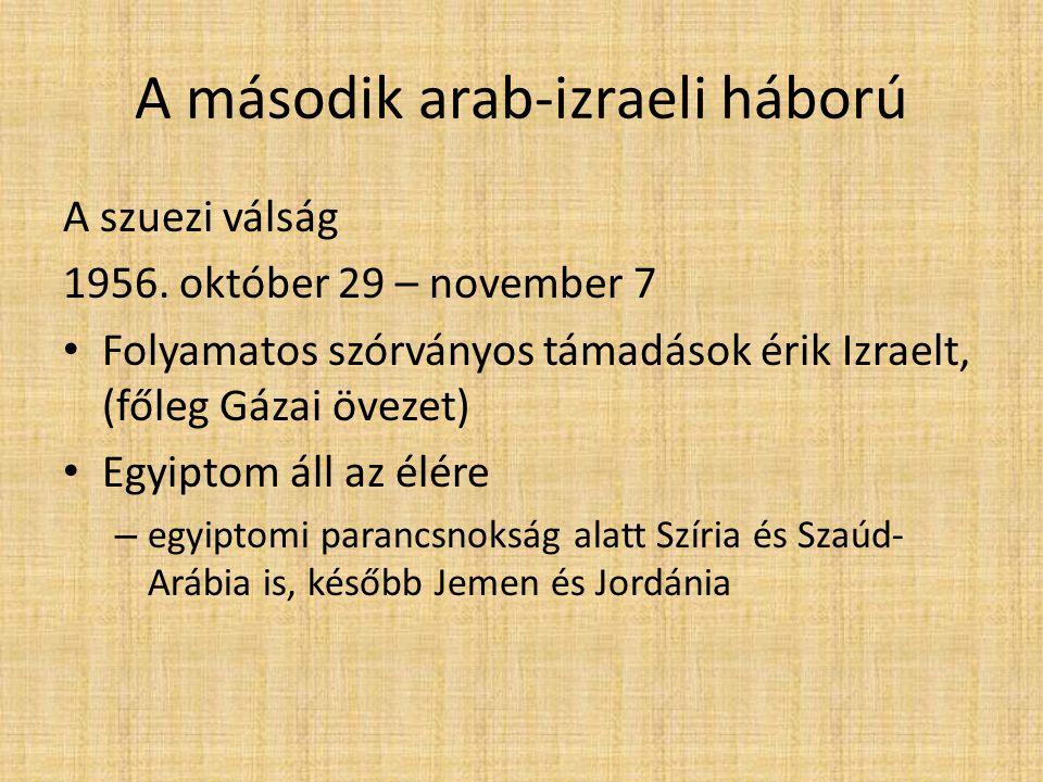 A második arab-izraeli háború A szuezi válság 1956.