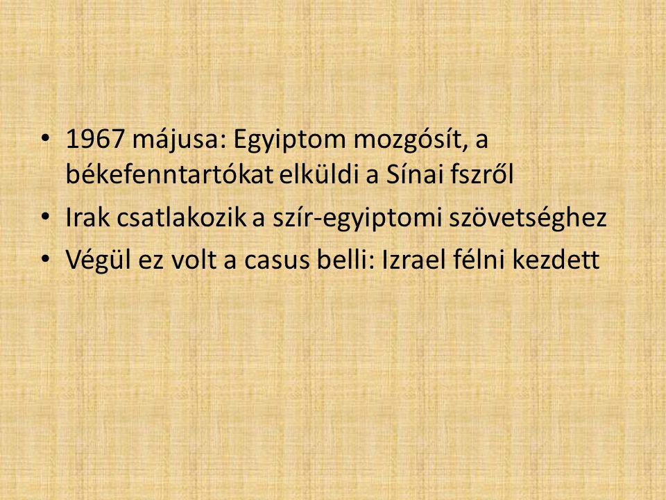 1967 májusa: Egyiptom mozgósít, a békefenntartókat elküldi a Sínai fszről Irak csatlakozik a szír-egyiptomi szövetséghez Végül ez volt a casus belli: Izrael félni kezdett