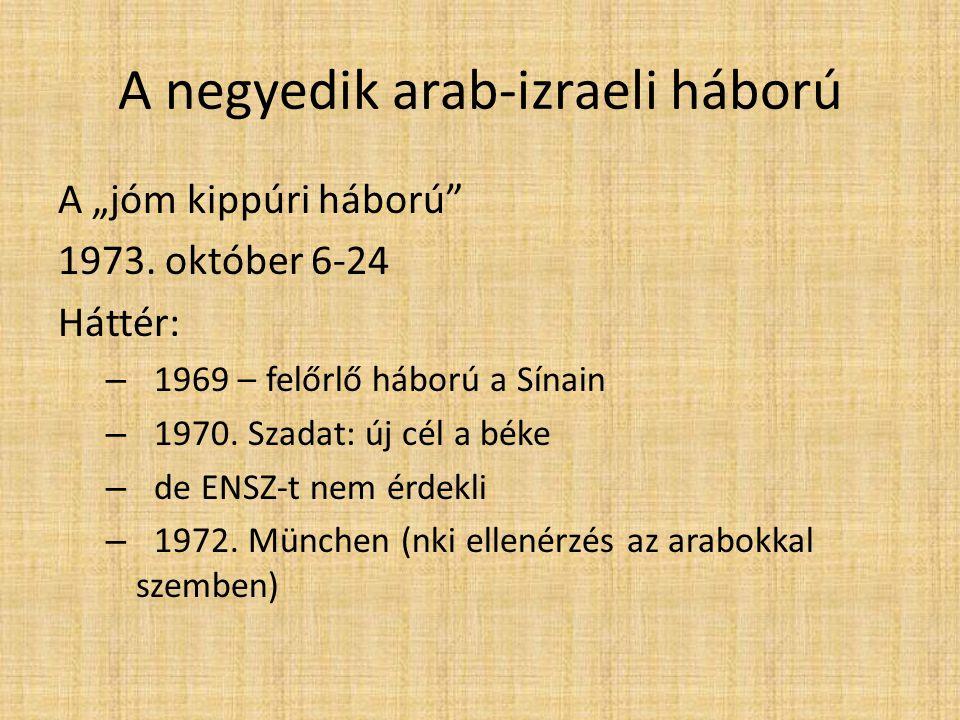 """A negyedik arab-izraeli háború A """"jóm kippúri háború 1973."""