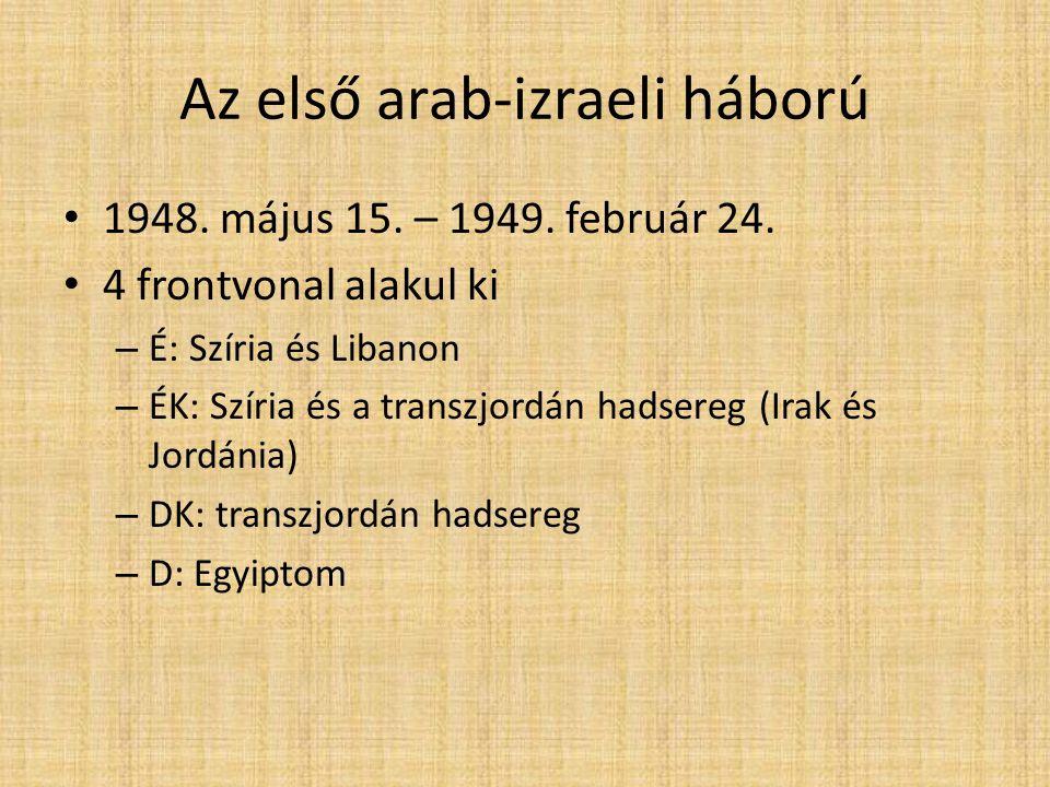 3 szakasz: – Május-június – Július 10-18 – Egyiptom támadása – Július 18 – február Nemzetközi koalíciók – Izrael: USA, SZU – Arab országok: UK, FRO