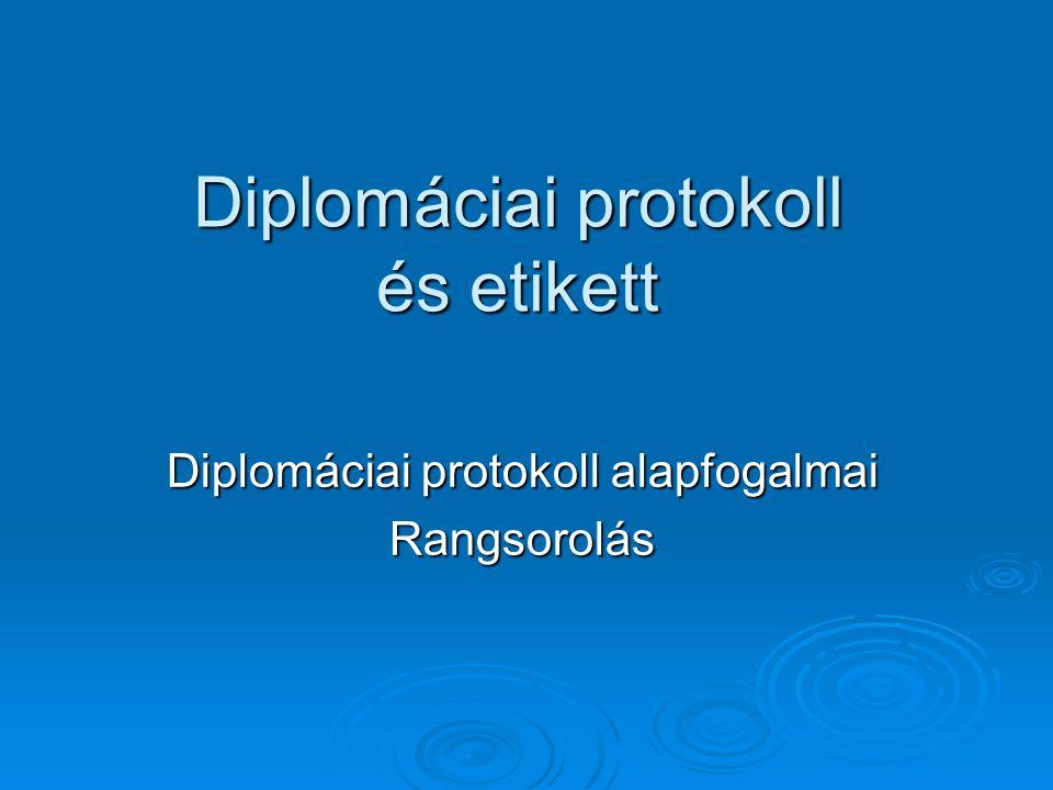 Diplomáciai protokoll és etikett Diplomáciai protokoll alapfogalmai Rangsorolás