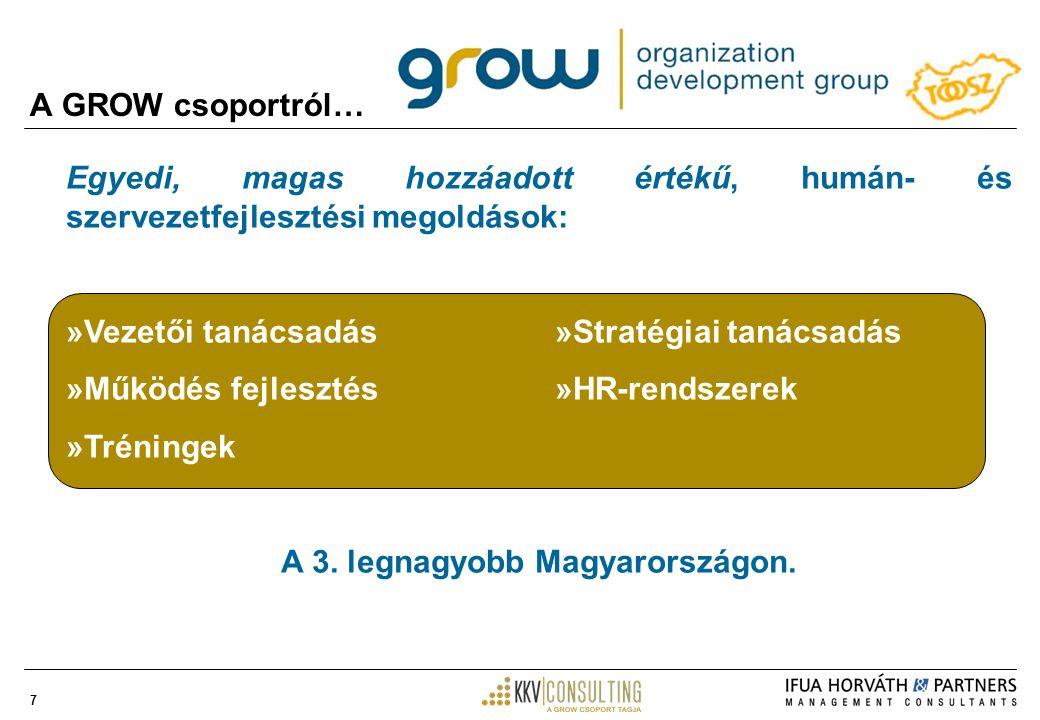7 A GROW csoportról… Egyedi, magas hozzáadott értékű, humán- és szervezetfejlesztési megoldások: »Vezetői tanácsadás »Stratégiai tanácsadás »Működés fejlesztés »HR-rendszerek »Tréningek A 3.