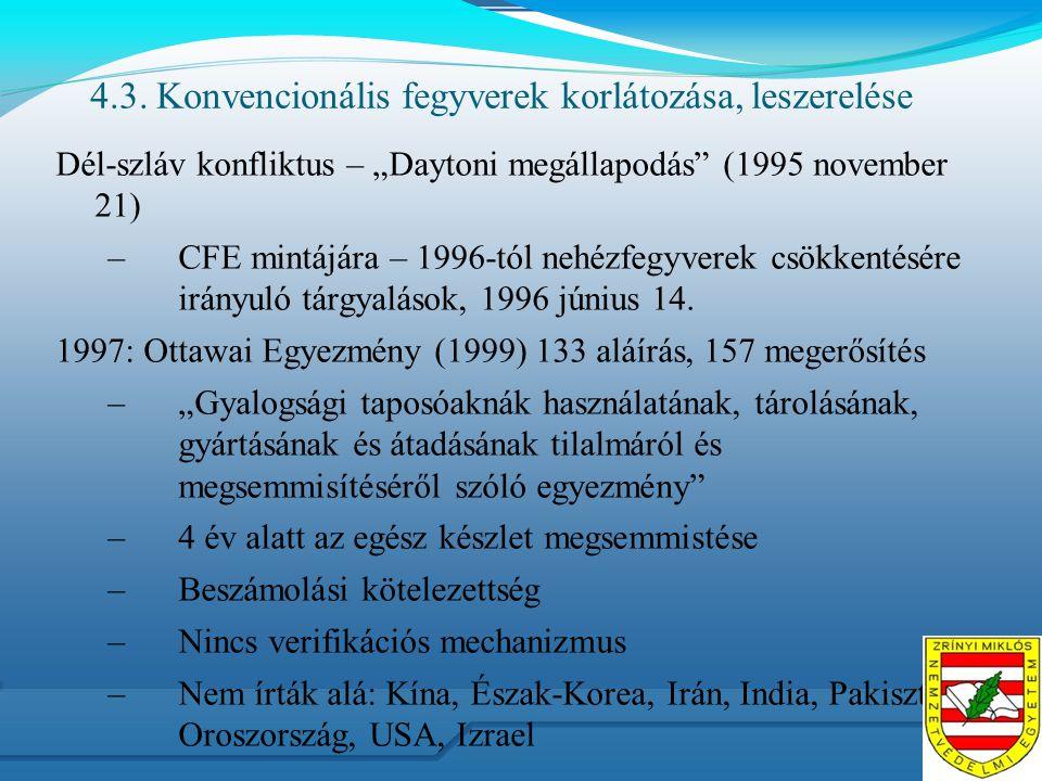 """4.3. Konvencionális fegyverek korlátozása, leszerelése Dél-szláv konfliktus – """"Daytoni megállapodás"""" (1995 november 21) –CFE mintájára – 1996-tól nehé"""