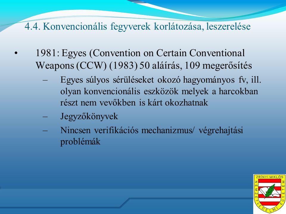 4.4. Konvencionális fegyverek korlátozása, leszerelése 1981: Egyes (Convention on Certain Conventional Weapons (CCW) (1983) 50 aláírás, 109 megerősíté