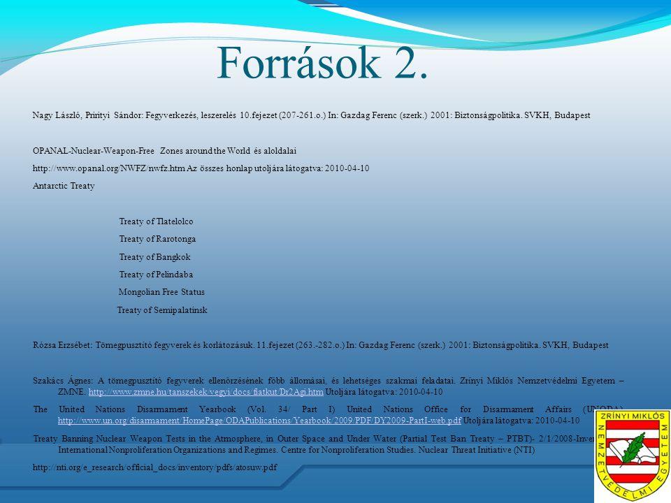 Források 2. Nagy László, Prirityi Sándor: Fegyverkezés, leszerelés 10.fejezet (207-261.o.) In: Gazdag Ferenc (szerk.) 2001: Biztonságpolitika. SVKH, B