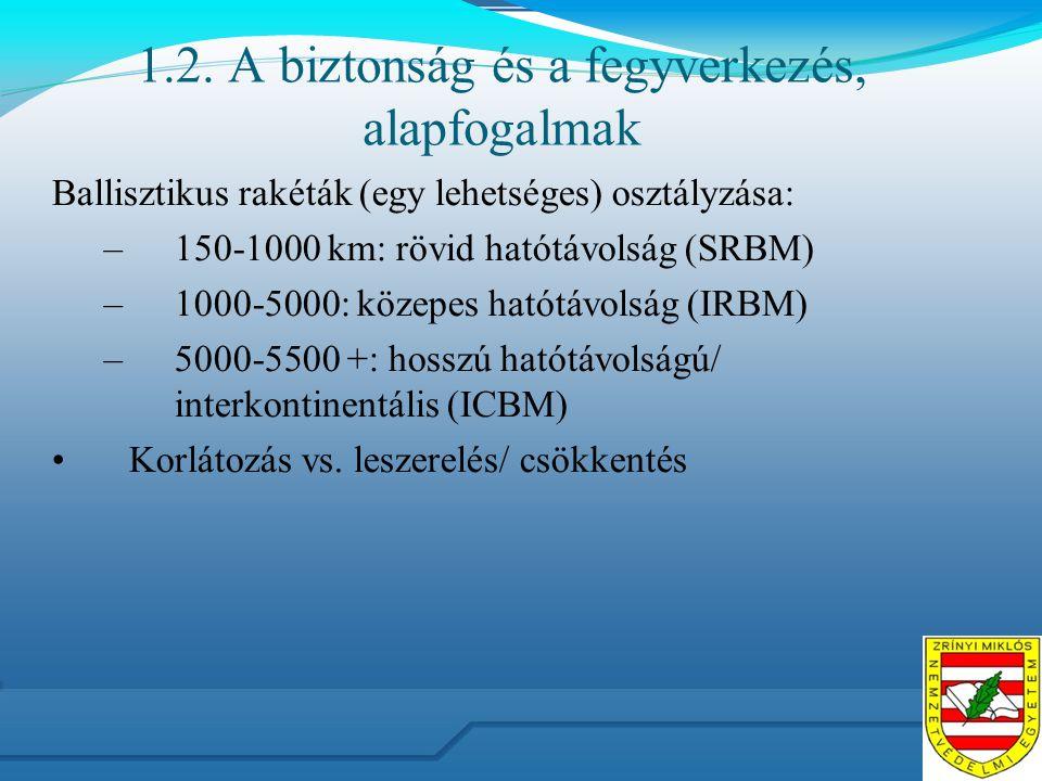 1.2. A biztonság és a fegyverkezés, alapfogalmak Ballisztikus rakéták (egy lehetséges) osztályzása: –150-1000 km: rövid hatótávolság (SRBM) –1000-5000