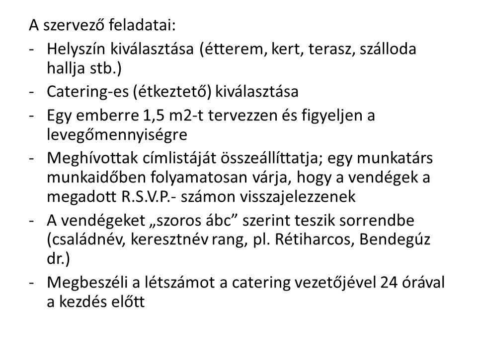 A szervező feladatai: -Helyszín kiválasztása (étterem, kert, terasz, szálloda hallja stb.) -Catering-es (étkeztető) kiválasztása -Egy emberre 1,5 m2-t