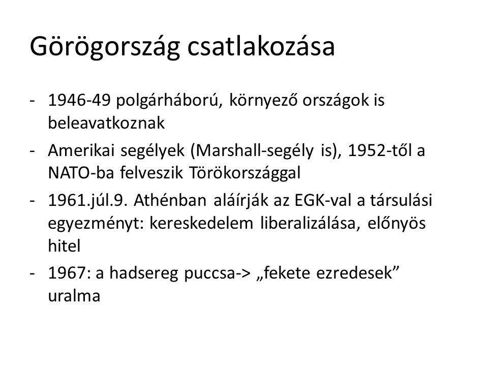 Görögország csatlakozása -1946-49 polgárháború, környező országok is beleavatkoznak -Amerikai segélyek (Marshall-segély is), 1952-től a NATO-ba felves