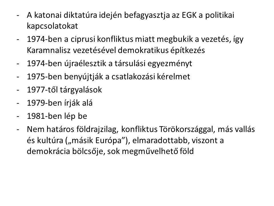 -A katonai diktatúra idején befagyasztja az EGK a politikai kapcsolatokat -1974-ben a ciprusi konfliktus miatt megbukik a vezetés, így Karamnalisz vez