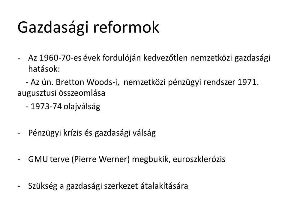 -Tagállami valuták is bajban, ezért megoldási kísérletek -1973-tól valutakígyó (1974-ben vonták vissza): közösségi valuták egymás közötti kötött, de kifelé szabad lebegtetése -1979: Európai Monetáris Rendszer (Eurpean Monetary System- EMS)-> három alkotóeleme: - ECU (European Currency Unit) - európai árfolyam-mechanizmus - Európai Monetáris Együttműködési Alap -1974-től EiT, 1979-től közvetlenül választott EP -Kölcsönös elismerése elve -Kereskedelmi megállapodás az EFTA-tagállamokkal