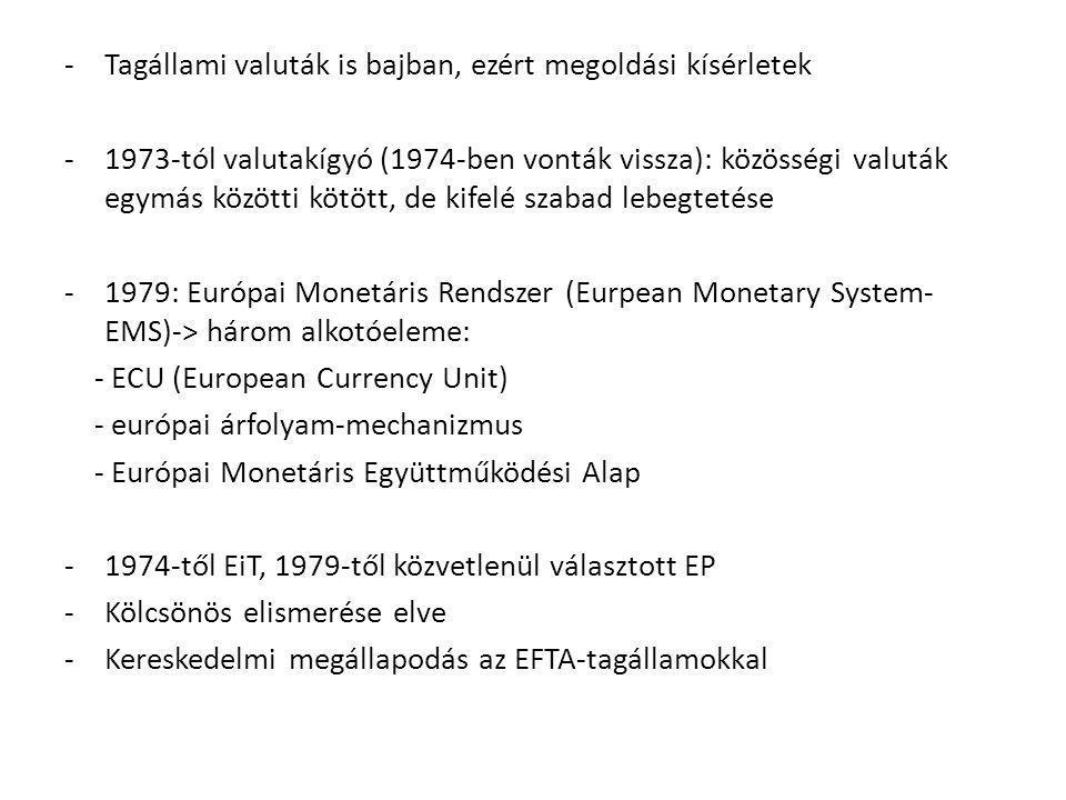 -Tagállami valuták is bajban, ezért megoldási kísérletek -1973-tól valutakígyó (1974-ben vonták vissza): közösségi valuták egymás közötti kötött, de k