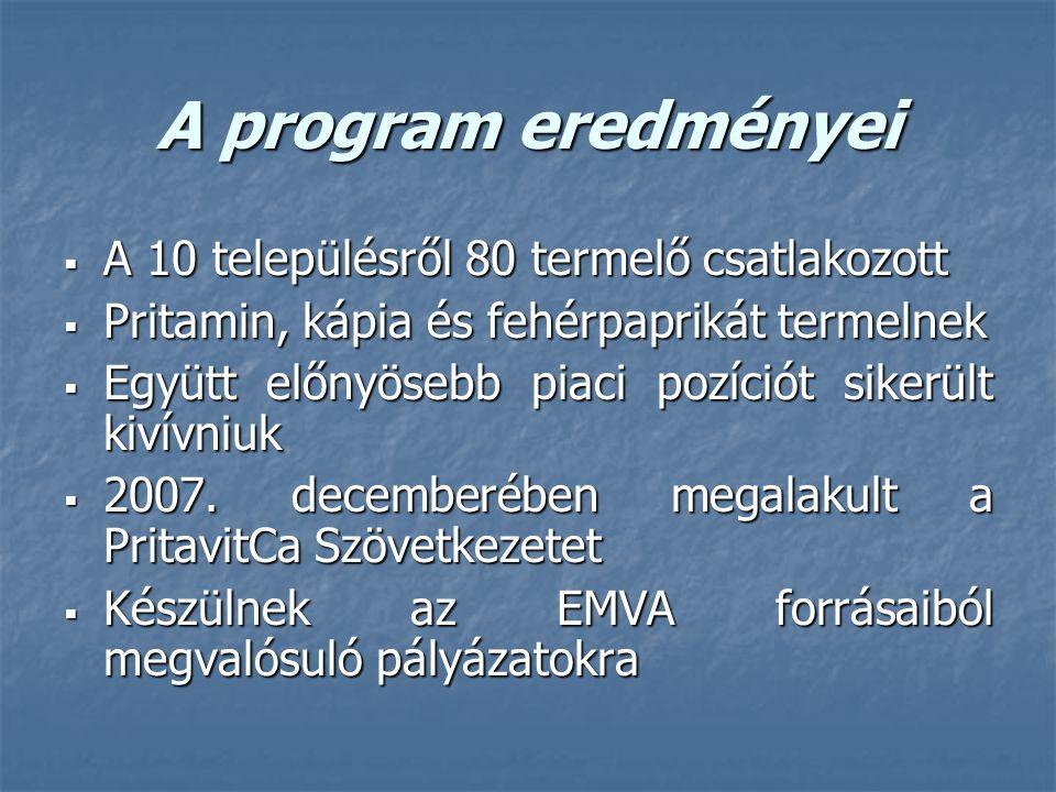 A program eredményei  A 10 településről 80 termelő csatlakozott  Pritamin, kápia és fehérpaprikát termelnek  Együtt előnyösebb piaci pozíciót sikerült kivívniuk  2007.