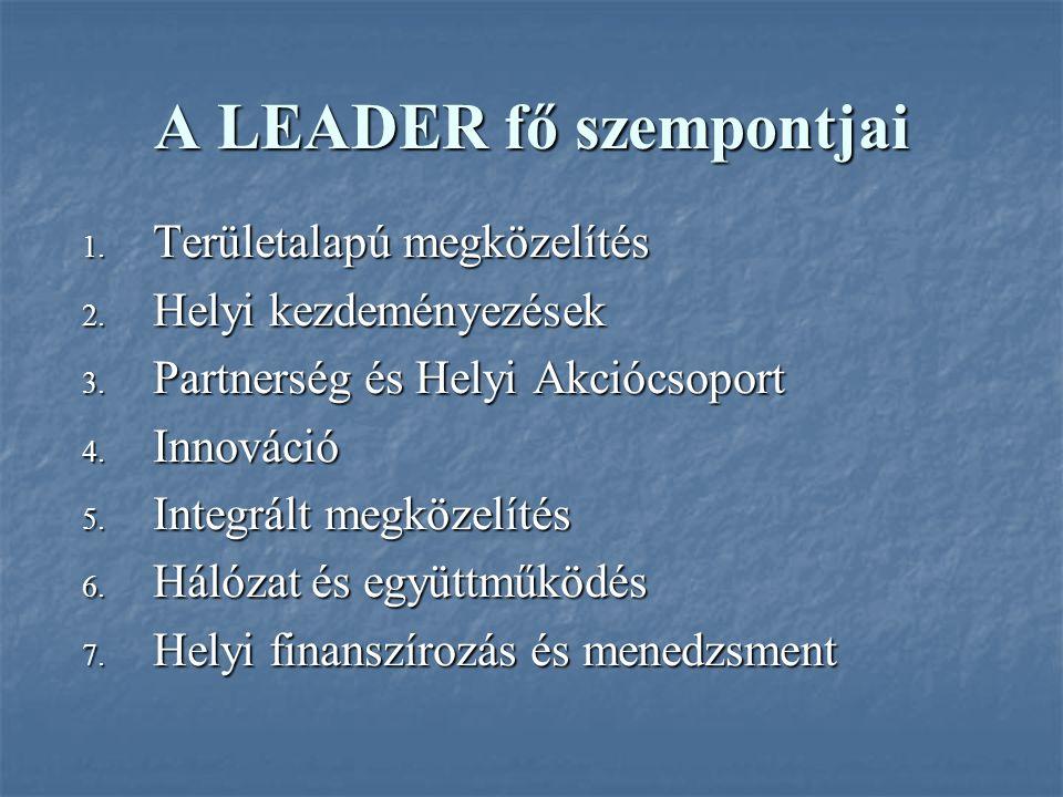 A LEADER fő szempontjai 1. Területalapú megközelítés 2.