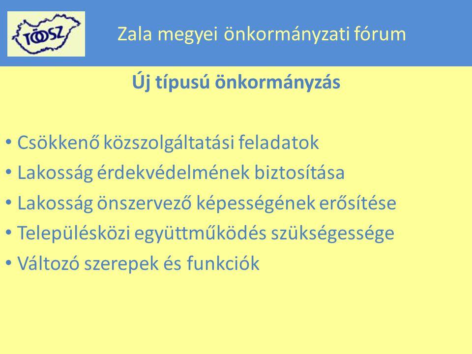 Zala megyei önkormányzati fórum Új típusú önkormányzás Csökkenő közszolgáltatási feladatok Lakosság érdekvédelmének biztosítása Lakosság önszervező képességének erősítése Településközi együttműködés szükségessége Változó szerepek és funkciók