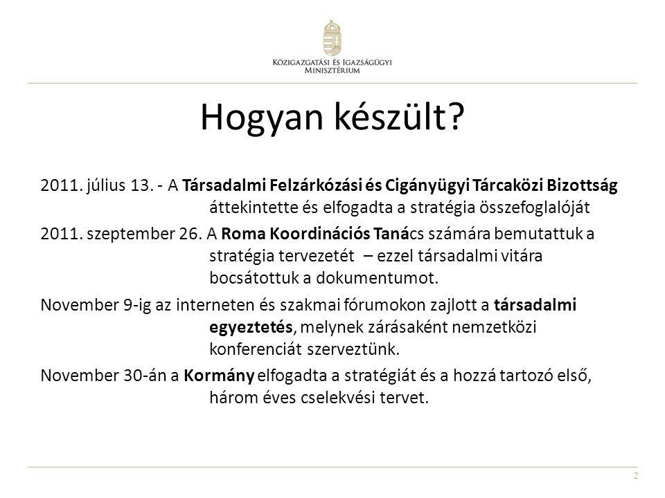 2 Hogyan készült? 2011. július 13. - A Társadalmi Felzárkózási és Cigányügyi Tárcaközi Bizottság áttekintette és elfogadta a stratégia összefoglalóját