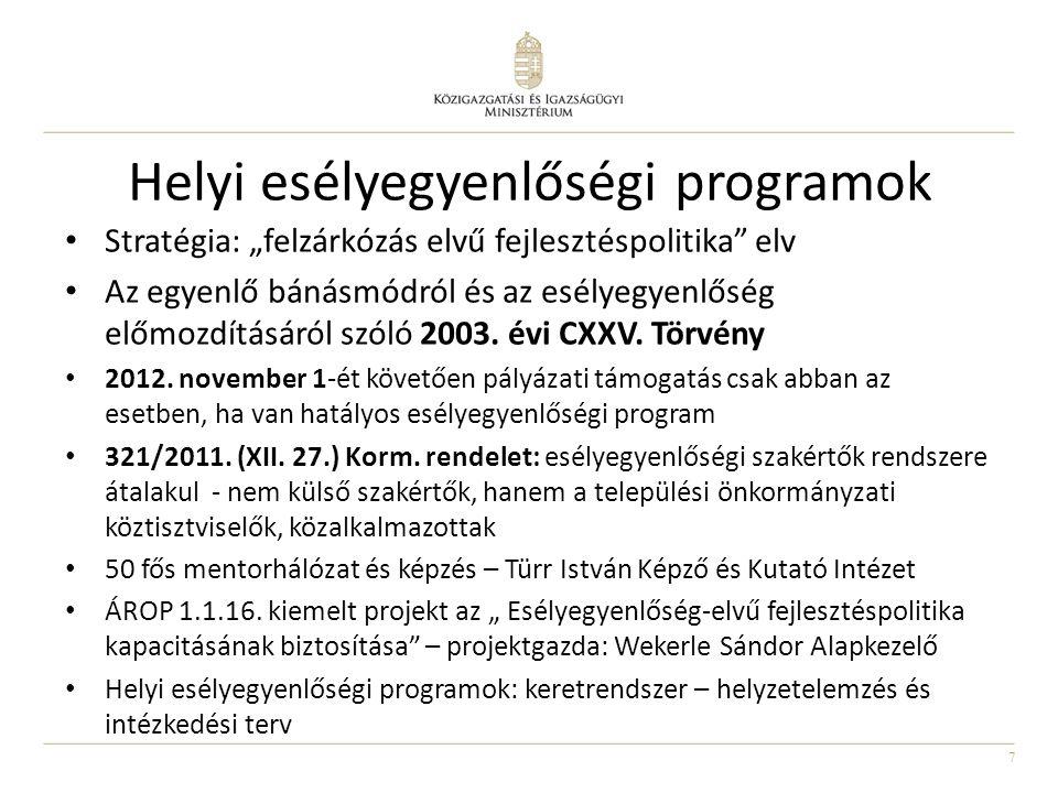 """7 Helyi esélyegyenlőségi programok Stratégia: """"felzárkózás elvű fejlesztéspolitika"""" elv Az egyenlő bánásmódról és az esélyegyenlőség előmozdításáról s"""