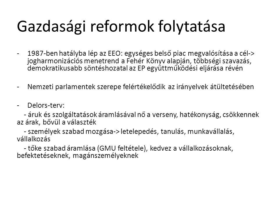Gazdasági reformok folytatása -1987-ben hatályba lép az EEO: egységes belső piac megvalósítása a cél-> jogharmonizációs menetrend a Fehér Könyv alapjá