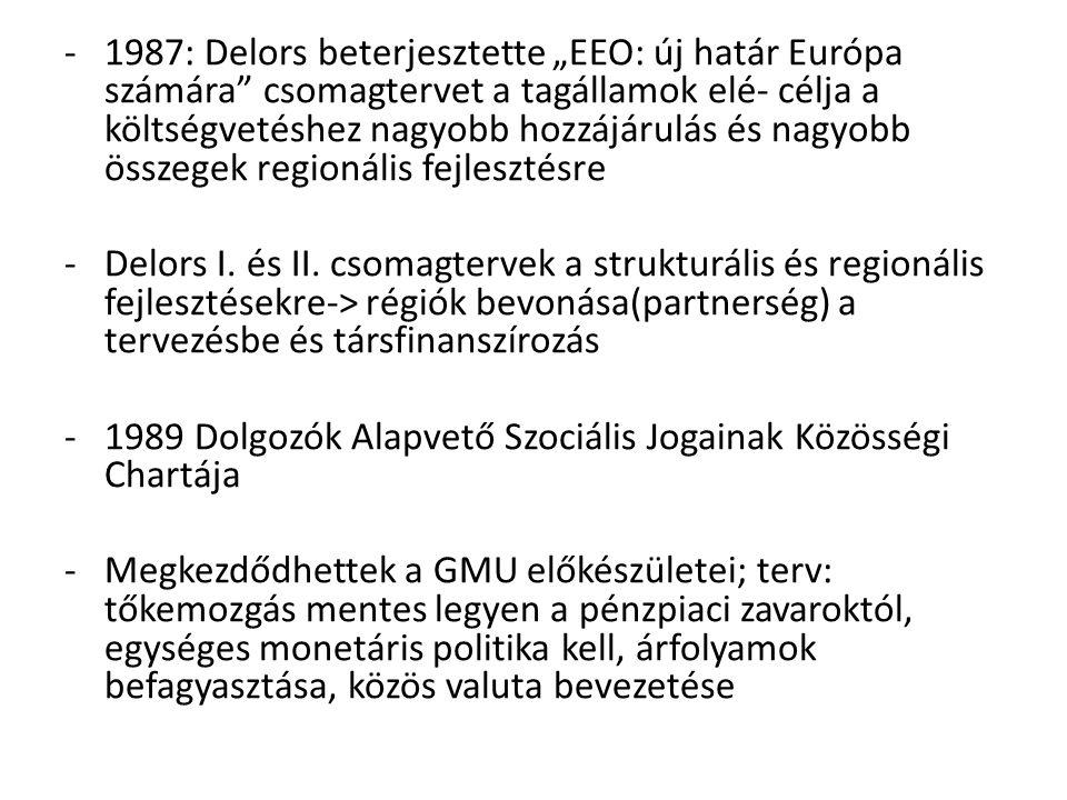 """-1987: Delors beterjesztette """"EEO: új határ Európa számára"""" csomagtervet a tagállamok elé- célja a költségvetéshez nagyobb hozzájárulás és nagyobb öss"""