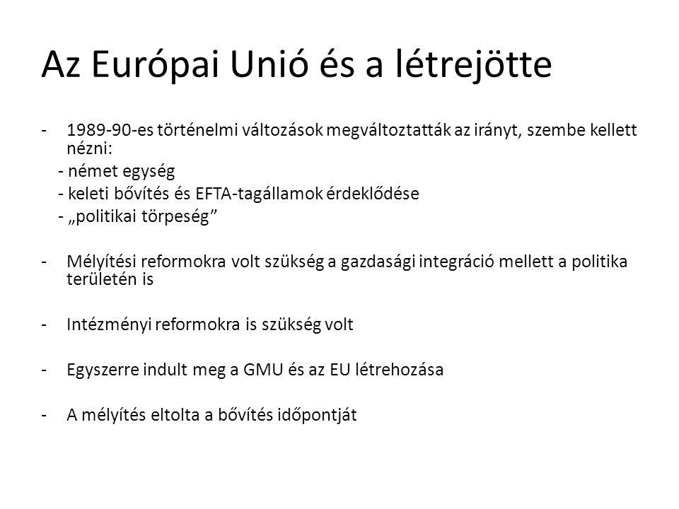 Az Európai Unió és a létrejötte -1989-90-es történelmi változások megváltoztatták az irányt, szembe kellett nézni: - német egység - keleti bővítés és