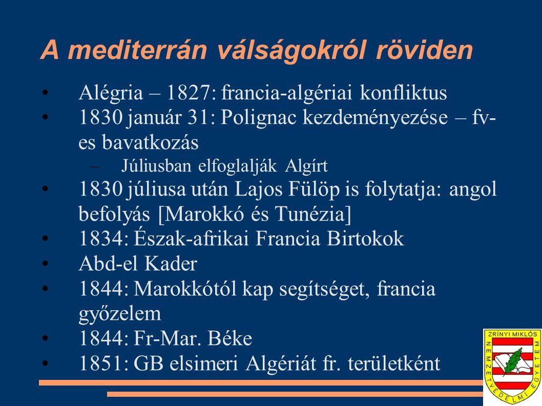 A mediterrán válságokról röviden Alégria – 1827: francia-algériai konfliktus 1830 január 31: Polignac kezdeményezése – fv- es bavatkozás –Júliusban el