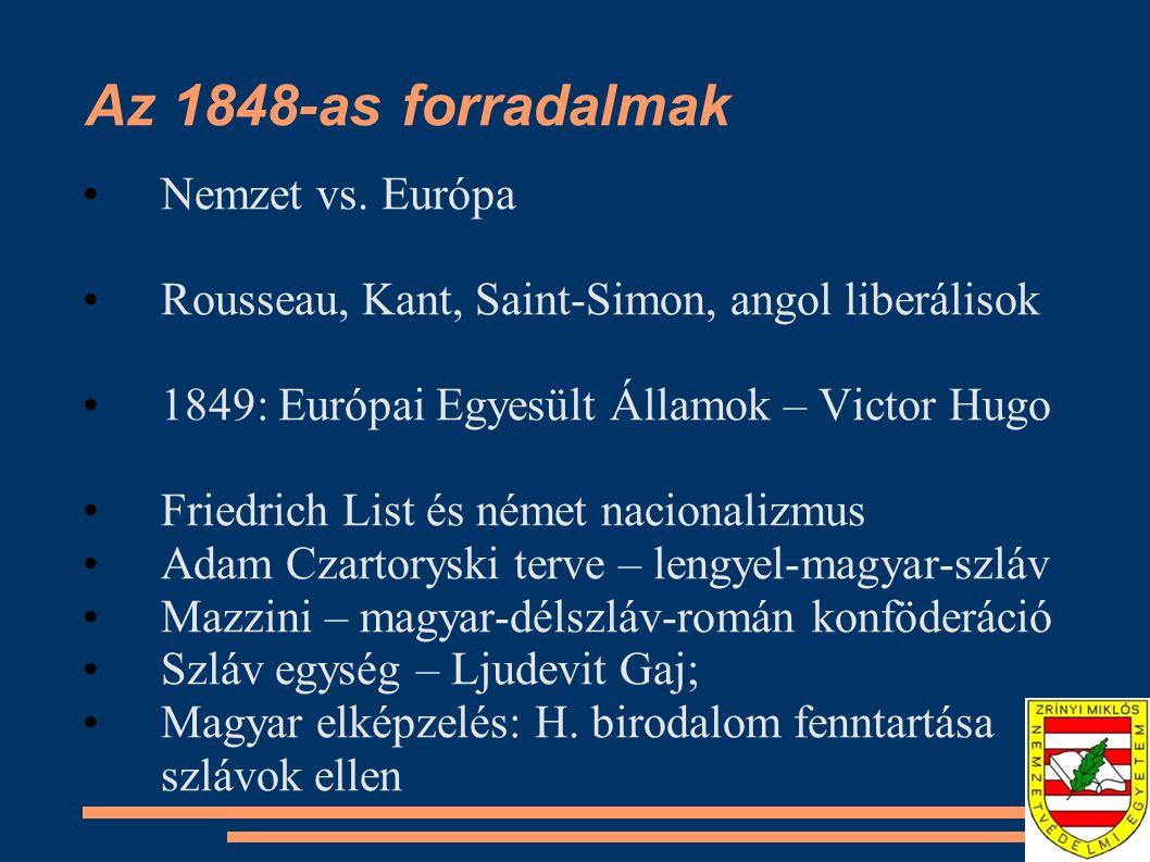 Az 1848-as forradalmak Nemzet vs. Európa Rousseau, Kant, Saint-Simon, angol liberálisok 1849: Európai Egyesült Államok – Victor Hugo Friedrich List és