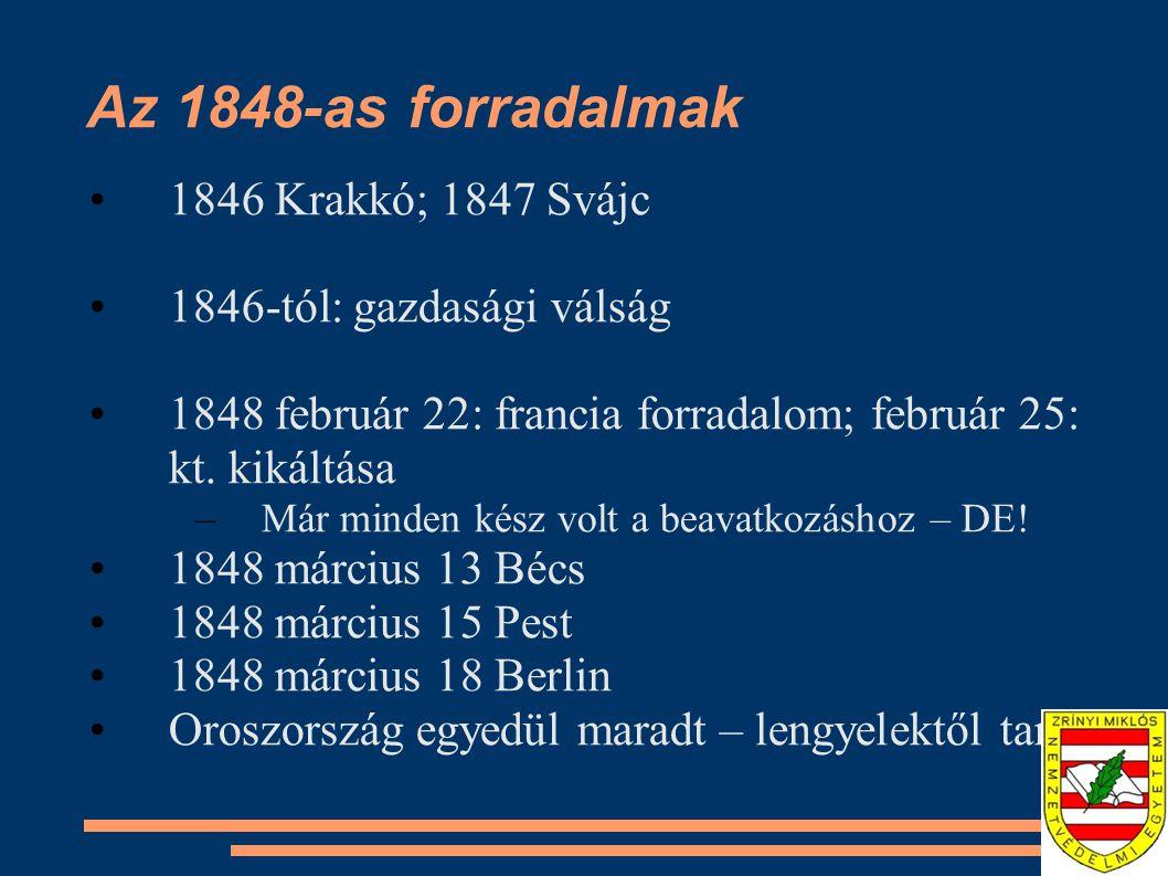 Az 1848-as forradalmak 1846 Krakkó; 1847 Svájc 1846-tól: gazdasági válság 1848 február 22: francia forradalom; február 25: kt. kikáltása –Már minden k
