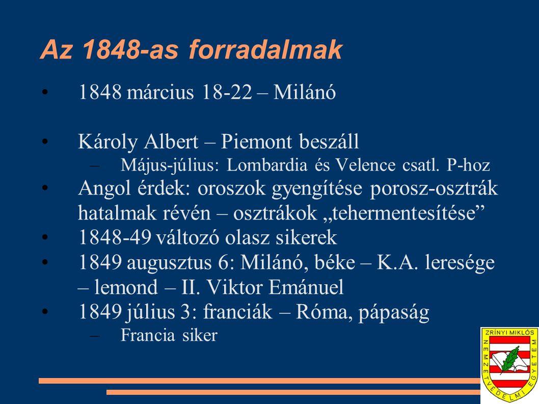 Az 1848-as forradalmak 1848 március 18-22 – Milánó Károly Albert – Piemont beszáll –Május-július: Lombardia és Velence csatl. P-hoz Angol érdek: orosz