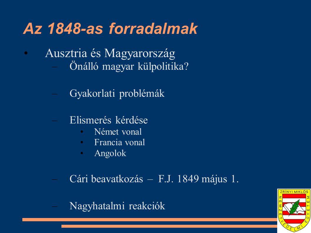 Az 1848-as forradalmak Ausztria és Magyarország –Önálló magyar külpolitika? –Gyakorlati problémák –Elismerés kérdése Német vonal Francia vonal Angolok