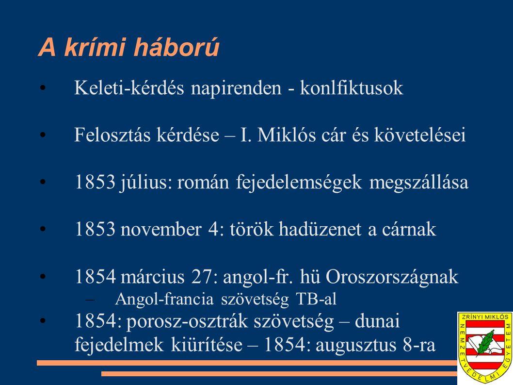 A krími háború Keleti-kérdés napirenden - konlfiktusok Felosztás kérdése – I. Miklós cár és követelései 1853 július: román fejedelemségek megszállása
