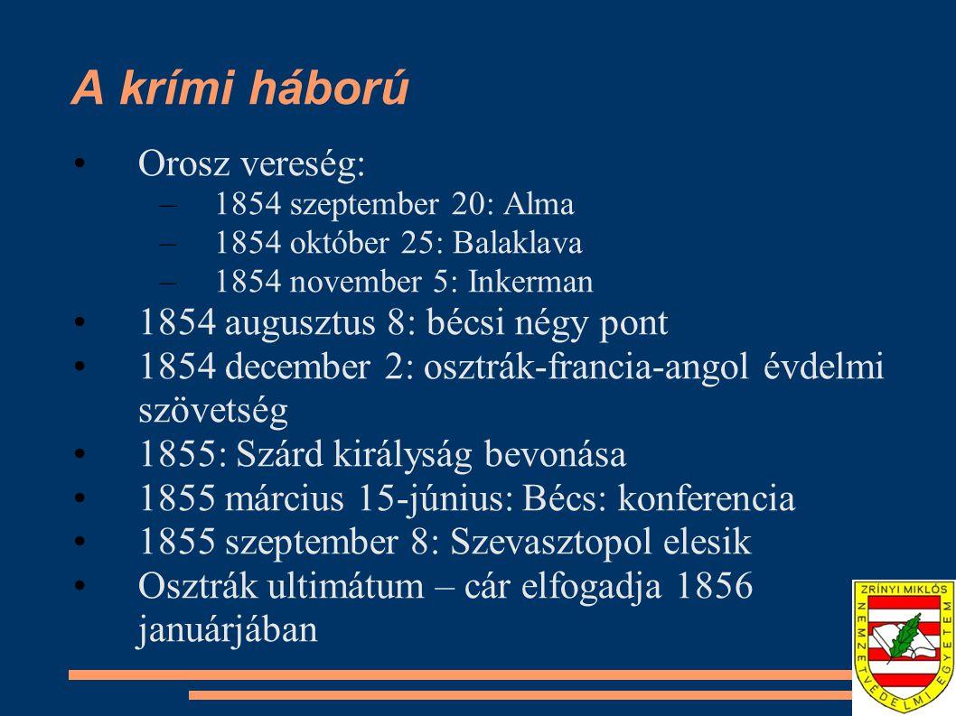 A krími háború Orosz vereség: –1854 szeptember 20: Alma –1854 október 25: Balaklava –1854 november 5: Inkerman 1854 augusztus 8: bécsi négy pont 1854