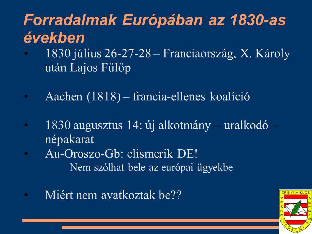 Forradalmak Európában az 1830-as években 1830 július 26-27-28 – Franciaország, X. Károly után Lajos Fülöp Aachen (1818) – francia-ellenes koalíció 183