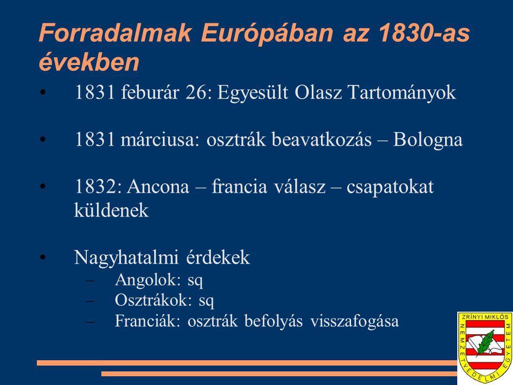 Forradalmak Európában az 1830-as években 1832: Hambach: 30.000 ember megmozdulása 1833: Frankfurt – parlament elfoglalásának kísérlete - reakciók 1834: cenzúra, diákegyletek betiltása 1834 január 1: Zollverein – porosz vezetésű vámunió – 23 m lakos, 18 állam –Osztrák befolyás csökkenése