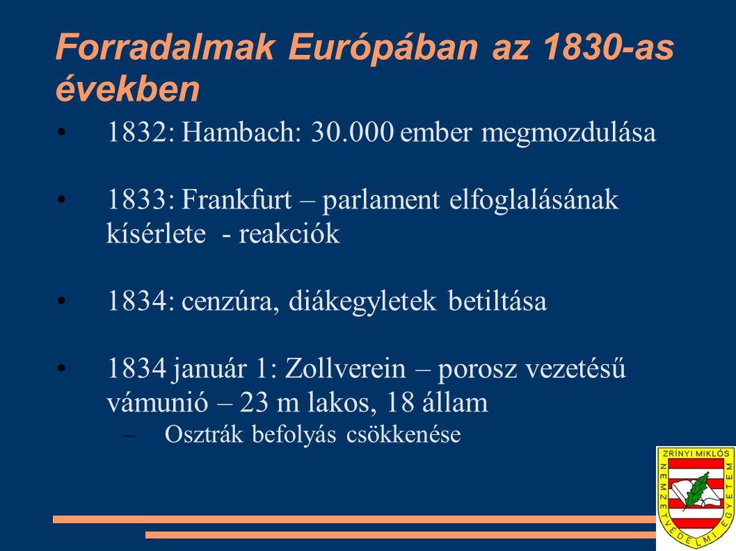Forradalmak Európában az 1830-as években 1832: Hambach: 30.000 ember megmozdulása 1833: Frankfurt – parlament elfoglalásának kísérlete - reakciók 1834