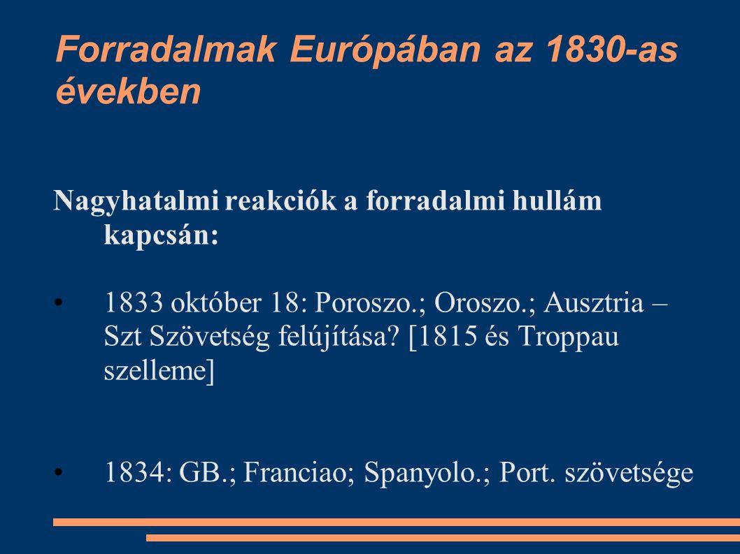 Forradalmak Európában az 1830-as években Nagyhatalmi reakciók a forradalmi hullám kapcsán: 1833 október 18: Poroszo.; Oroszo.; Ausztria – Szt Szövetsé