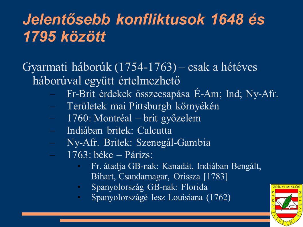 Jelentősebb konfliktusok 1648 és 1795 között Gyarmati háborúk (1754-1763) – csak a hétéves háborúval együtt értelmezhető –Fr-Brit érdekek összecsapása