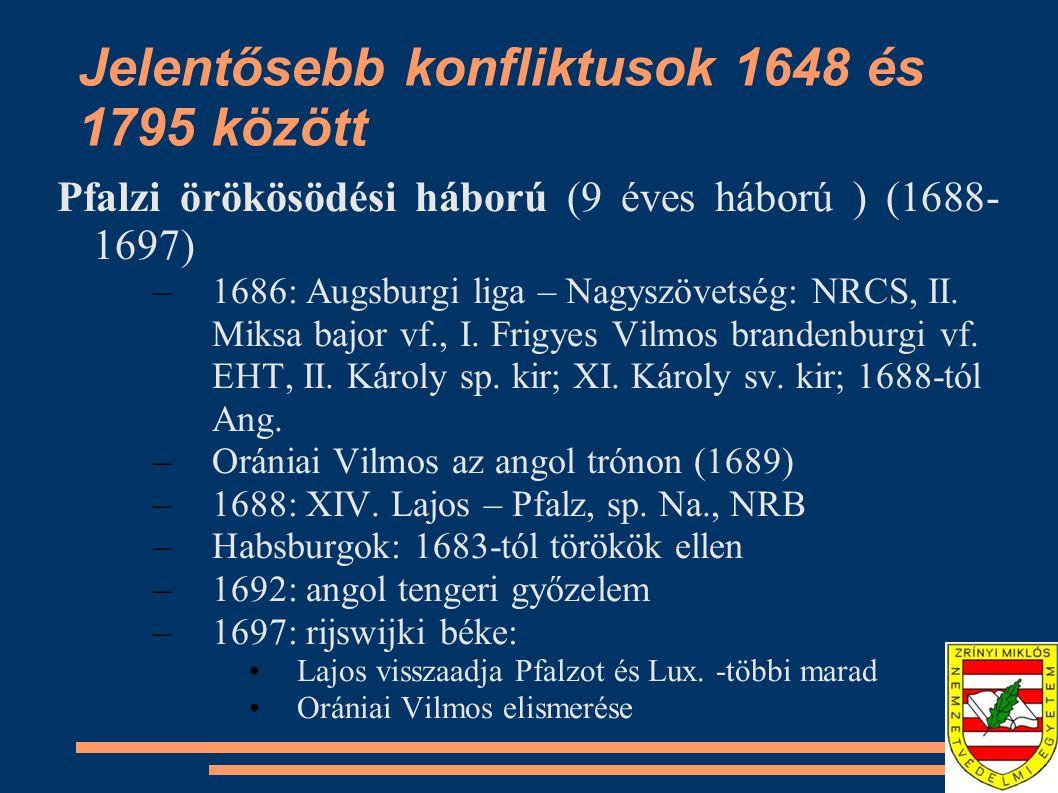 Jelentősebb konfliktusok 1648 és 1795 között Pfalzi örökösödési háború (9 éves háború ) (1688- 1697) –1686: Augsburgi liga – Nagyszövetség: NRCS, II.