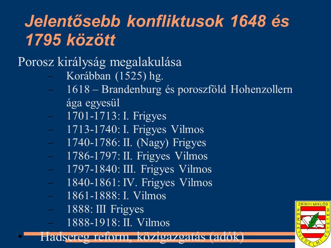 Jelentősebb konfliktusok 1648 és 1795 között Porosz királyság megalakulása –Korábban (1525) hg. –1618 – Brandenburg és poroszföld Hohenzollern ága egy