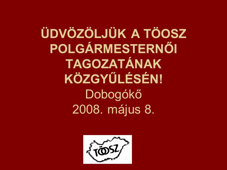 ÜDVÖZÖLJÜK A TÖOSZ POLGÁRMESTERNŐI TAGOZATÁNAK KÖZGYŰLÉSÉN! Dobogókő 2008. május 8.
